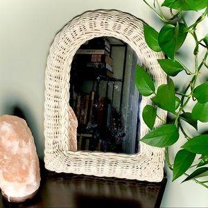 Vintage White Wicker Arch Shabby Chic Boho Mirror